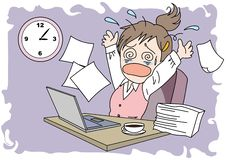 Femme d'image de Worktime - confusion illustration stock