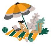 Femme d'indépendant sur la couverture avec le caractère d'isolement par travail éloigné d'ordinateur portable illustration stock