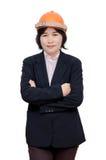 Femme d'ingénieur avec le casque au-dessus du blanc Photo libre de droits