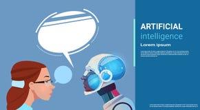 Femme d'intelligence artificielle avec le robot moderne Brain Technology Photographie stock