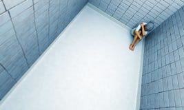 Femme d'isolement dans le monde illustration stock