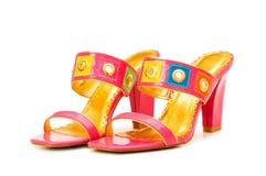 femme d'isolement de chaussures Images stock