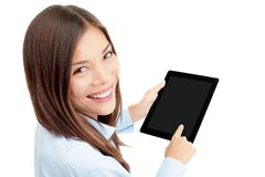 Femme d'ordinateur de tablette Photo stock