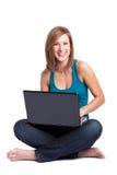Femme d'ordinateur portatif Photographie stock libre de droits