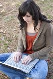 Femme d'ordinateur portatif Photo stock