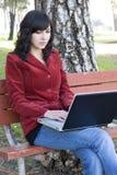 Femme d'ordinateur portatif Photos stock