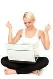 femme d'ordinateur portatif Images stock