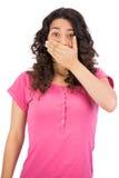 Femme d'une chevelure de Brown étant choquée Photographie stock libre de droits
