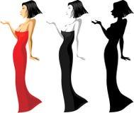 Femme dans de longues variantes de la robe de cocktail trois. Image libre de droits