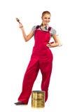 Femme dans des combinaisons rouges photos stock