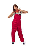 Femme dans des combinaisons rouges, d'isolement sur le blanc Photo libre de droits
