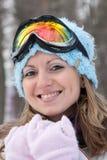 Femme dans des lunettes de ski Images libres de droits