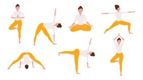 Femme dans des poses de yoga illustration stock