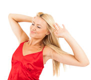 Femme dans des pyjamas rouges Image libre de droits