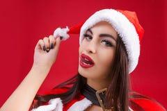Femme dans des vêtements de fond de rouge de Santa Claus cartoon photographie stock