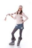 femme dans des vêtements de l'hiver sur un blanc Photos stock