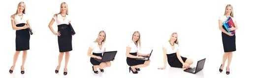 Femme dans différentes poses de bureau d'isolement sur le blanc Photographie stock libre de droits