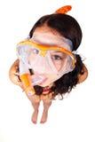 Femme dans l'équipement naviguant au schnorchel Photos stock