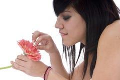 Femme dans l'amour avec la fleur Images libres de droits