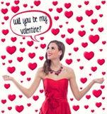 Femme dans l'amour - concept de coeur de valentine Images libres de droits