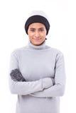 Femme dans l'habillement de chute ou d'hiver images libres de droits