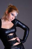 Femme dans l'habillement et le maquillage de style de cyber Photos stock