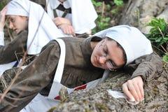 Femme dans l'uniforme d'infirmière de l'armée russe pendant le premier Worl Photographie stock