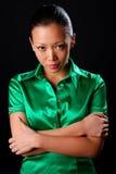 Femme dans la chemise verte Photo libre de droits