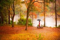 Femme dans la forêt d'automne Photo stock