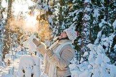 Femme dans la forêt Photographie stock