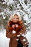 Femme dans la forêt de l'hiver de neige Image libre de droits