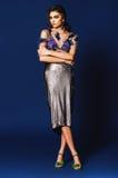 Femme dans la jupe argentée et dessus argenté transparent sur le backgro bleu photos stock