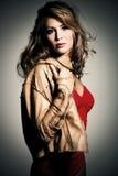 Femme dans la jupe en cuir Image libre de droits