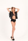 Femme dans la jupe noire Photo stock