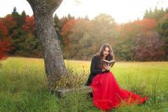 Femme dans la lecture rouge de robe dehors Photo stock