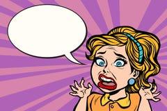 Femme dans la panique, l'émotion et l'effort illustration de vecteur