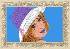 Femme dans la pose érotique, fille, une goupille avec le cadre illustration stock