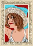 Femme dans la pose érotique, fille, une goupille avec le cadre illustration de vecteur