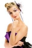 Femme dans la robe à la mode photographie stock