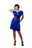 Femme dans la robe bleue photographie stock