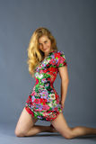 Femme dans la robe colorée Image libre de droits