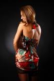 Femme dans la robe de couleur Images libres de droits