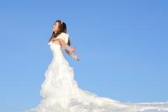 Femme dans la robe de mariage photo stock