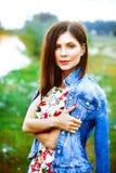 Femme dans la robe de nature photo libre de droits