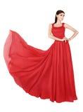 Femme dans la robe de soirée rouge Photo stock