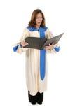 Femme dans la robe longue d'église chantant 2 Photographie stock