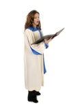 Femme dans la robe longue d'église chantant 4 Photos stock