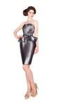 Femme dans la robe noire, costume Photos stock