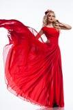 Femme dans la robe rouge photo stock
