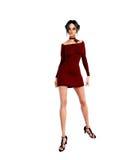 Femme dans la robe rouge tricotée Images stock